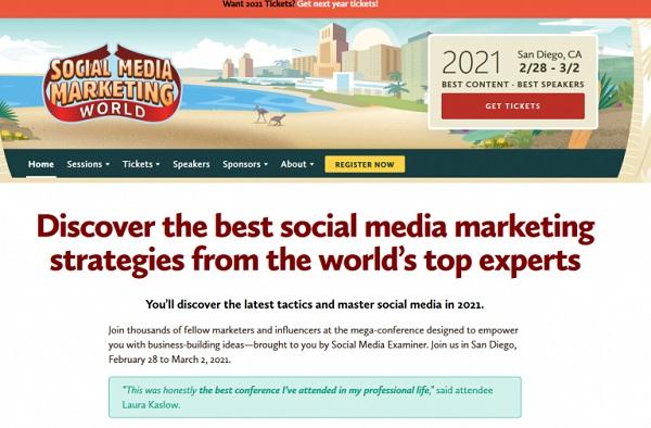 Die Webseite von Social Media Marketing World.