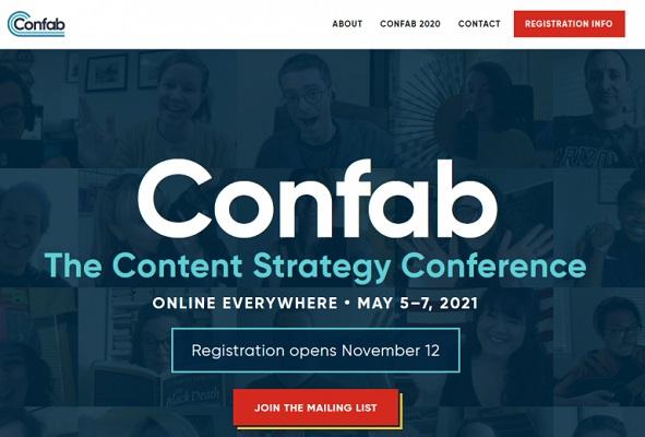 Die Webseite von Confab.
