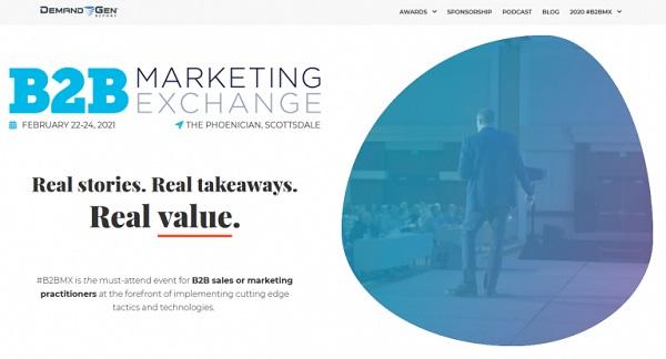 Die Webseite der B2B Marketing Exchange.