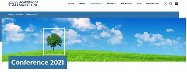 Die Webseite der Academy of Marketing Conference.