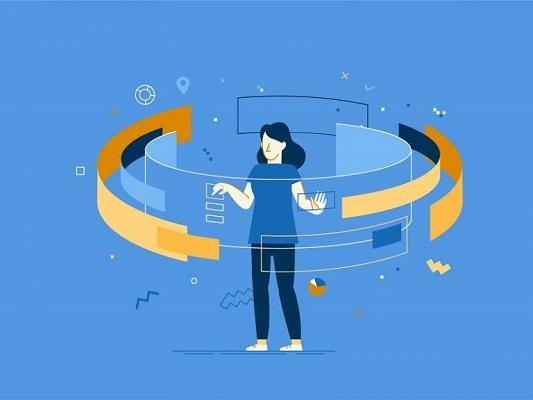 Eine Frau verwendet eine digitale Benutzeroberfläche.