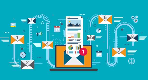 Eine Abbildung zeigt eine E-Mail aus einer Serie mit einer E-Mail-Kadenz.