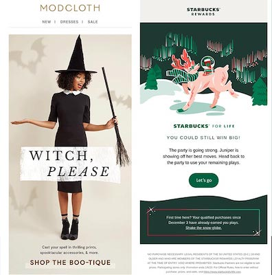 Eine E-Mail von Modcloth zu Halloween und eine Weihnachts-E-Mail von Starbucks.