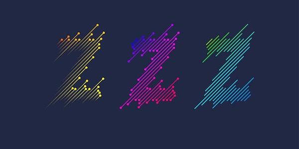 Der Buchstabe Z in drei verschiedenen Farben.