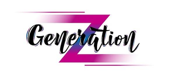 Ein Schild in schwarz, weiß und violett mit der Aufschrift 'Generation Z'.