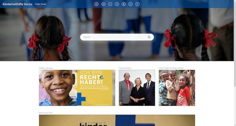 Screenshot des Public Portals Kindernothilfe Media