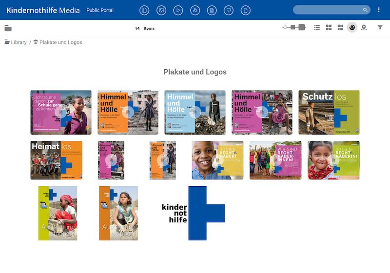 Screenshot des öffentlichen Media Portals der Kindernothilfe