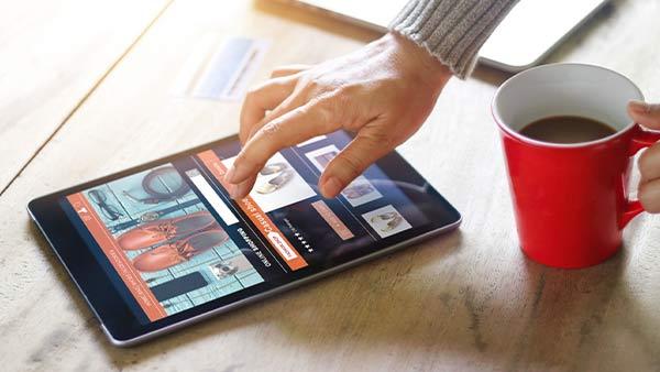 Eine Person schaut sich eine Webseite auf einem Tablet an.