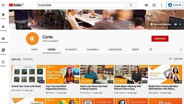 Eine Website mit einem YouTube-Markenprofil.