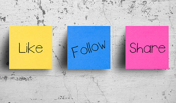 Three sticky notes that read 'like', 'follow' or 'share'.