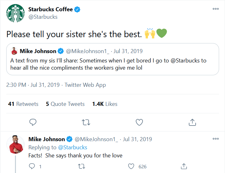 A Starbucks post on Twitter.