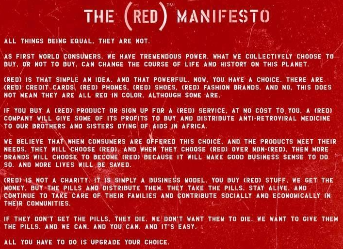 The (RED) manifesto in words.