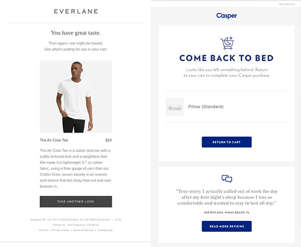 Abandoned cart emails from Everlane and Casper stating