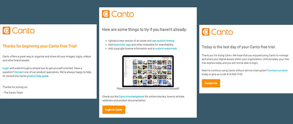 Three automated emails sent by Canto during a free trial.