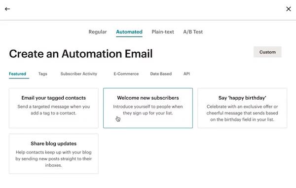 Screenshot of Mailchimp email automation menu.