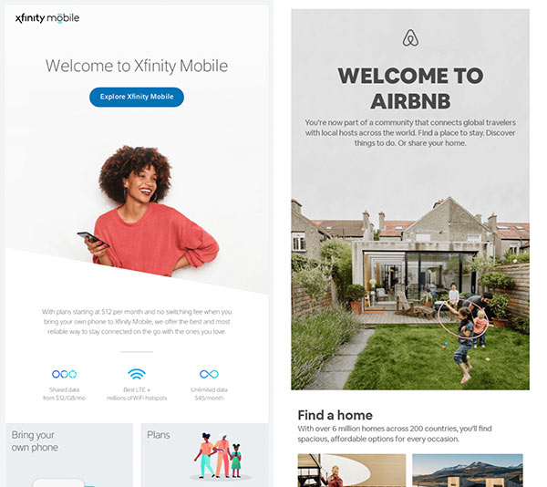 Welcome emails from Xfinity and AirBnB.