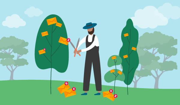 Illustration of gardener pruning emails off a bush, illustrating email list management.