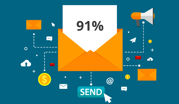 Illustration of statistic: 91% of people want to receive promotional emails.