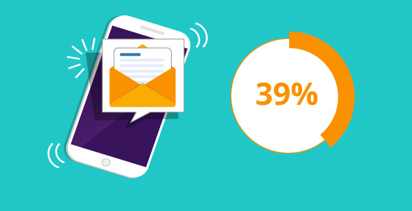 Illustration of email on mobile phone.