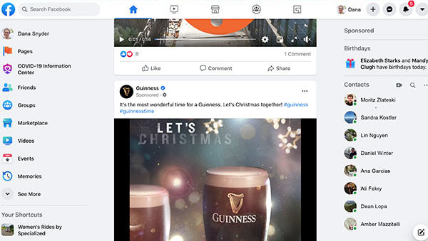 Screenshot of Guinness ad on a Facebook feed.