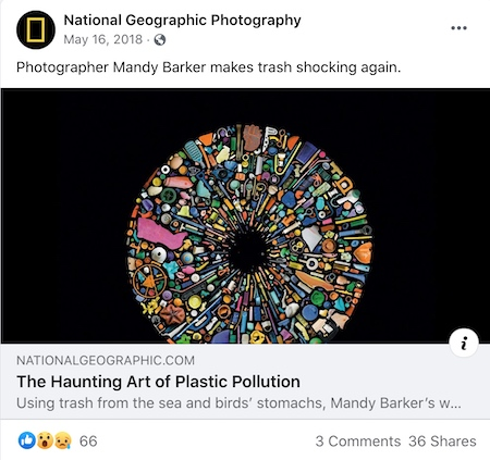 National Geographic Photography Facebook post featuring plastic pollution artwork.