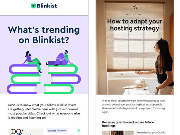 Single-topic email newsletters from Blinkist and AirBnB.