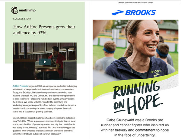 Email newsletters featuring Mailchimp customer success story and Brooks brand ambassador.