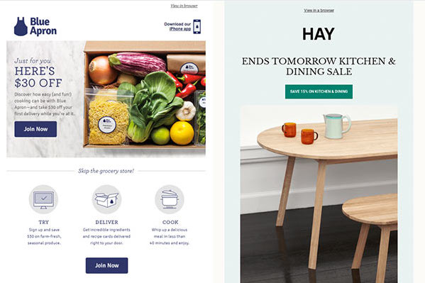 Blue apron email newsletter with $30 coupon and Hay email announcing a sale.