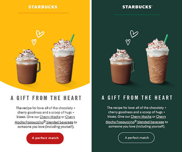 Starbucks email in off-brand and on-brand colors.