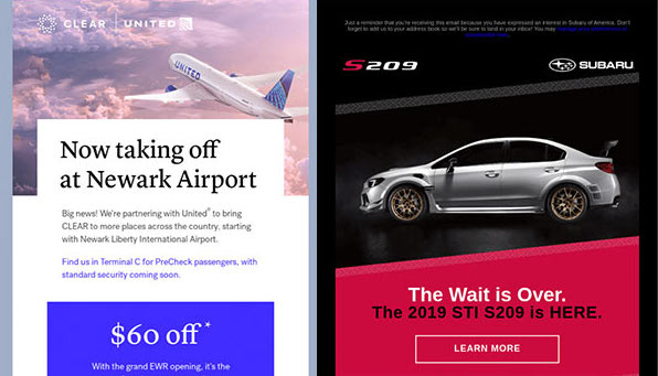 Email from United announcing new airport service and email from Subaru announcing new car model.