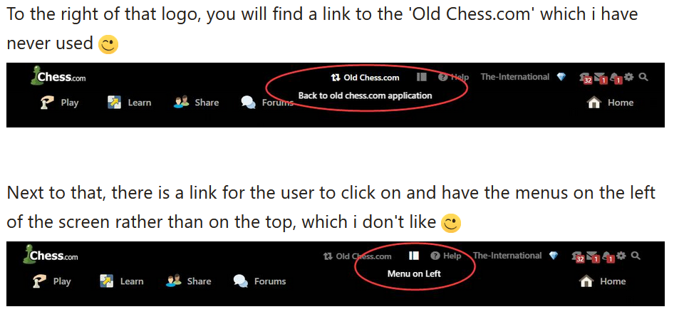 Navigation of the chess.com interface.