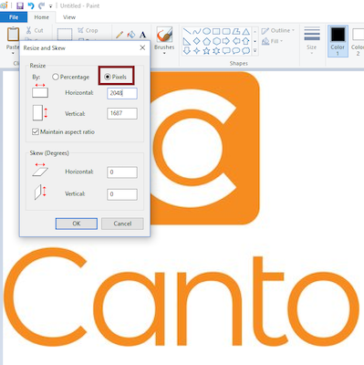 Canto screenshot with sizing box