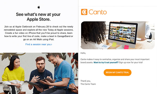 Emails from Apple and Canto that balance text and visual elements.