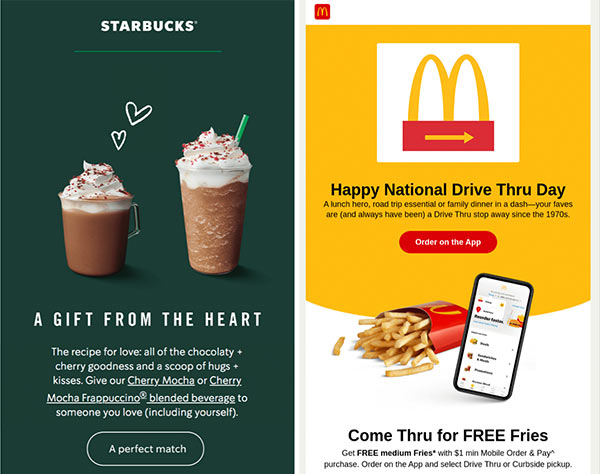 Emails from Starbucks and McDonalds showing on-brand colors and logos.