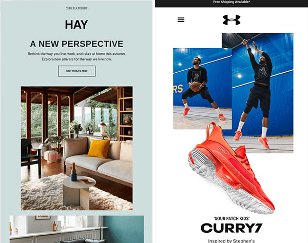Highly visual emails marketing Hay sofas and Under Armour sneakers.