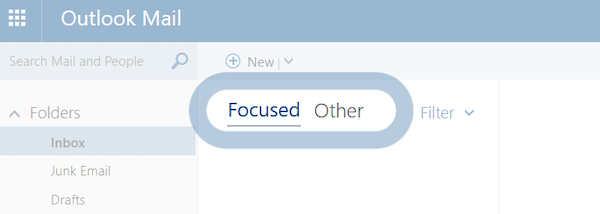 Screenshot of Outlook's Focused Inbox feature, which sorts marketing emails into a separate view.