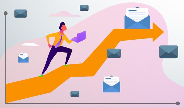 Ein Diagramm zeigt eine zunehmende Click-Through-Rate für E-Mails.