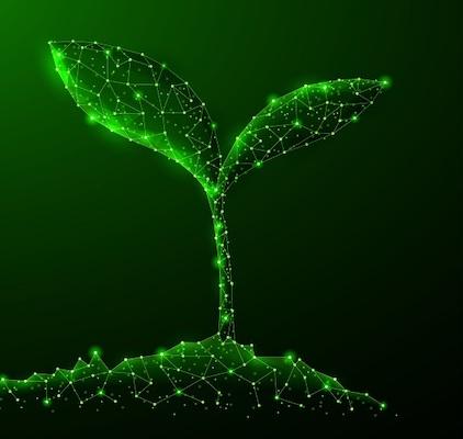 Digitale Darstellung einer grünen, sprießenden Pflanze.