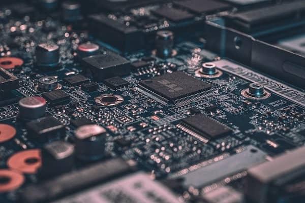 Die Hauptplatine eines Computers.