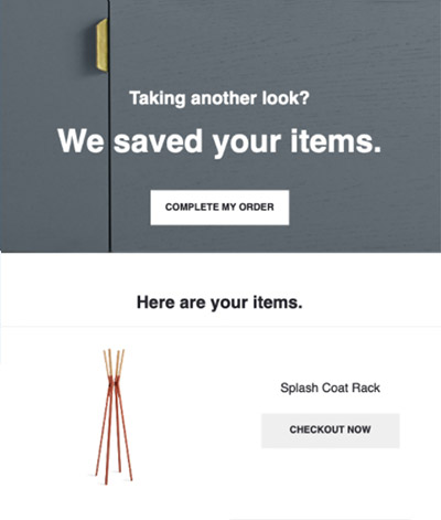 Abandoned cart email featuring a coat rack promising the item has been saved.