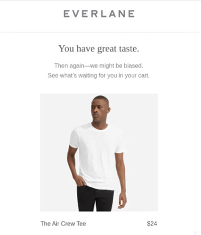 Abandoned cart email from Everlane with the copy