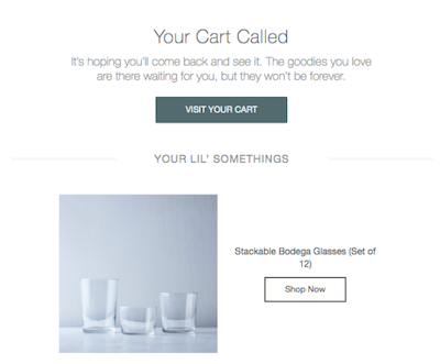 Screenshot of an abandoned cart email from a homeware store featuring a set of drinking glasses.