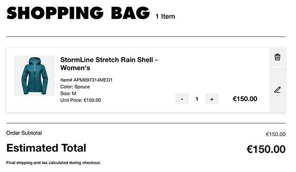 Screenshot of a blue raincoat in an e-commerce shopping cart.