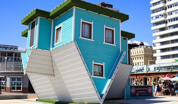 A strange house in the city.