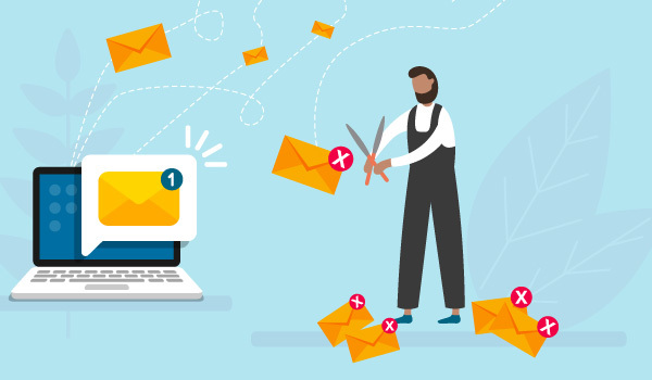 Illustration of marketer engaging in email list management by cutting email addresses that bounce from his mailing list.