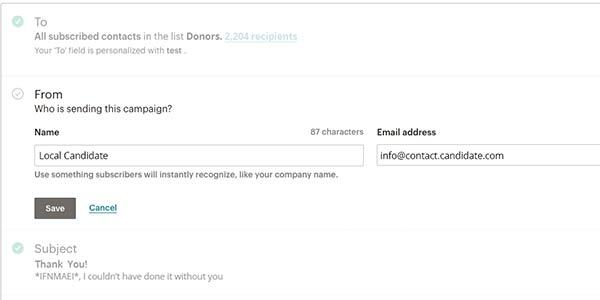 Menu for customizing the sender field in an email marketing tool.