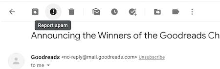 Screenshot of Gmail's report spam button.