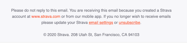Email footer with bright red unsubscribe link.