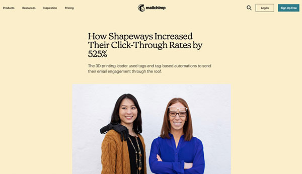 Screenshot of a Mailchimp case study discussing Shapeways' 525% CTR increase.