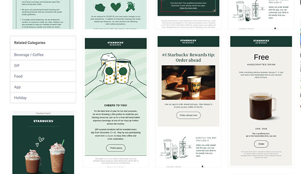 Screenshot showing collection of Starbucks emails in Really Good Emails.